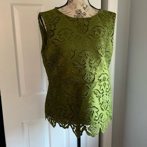 Olive green lace peplum Ann Taylor blouse